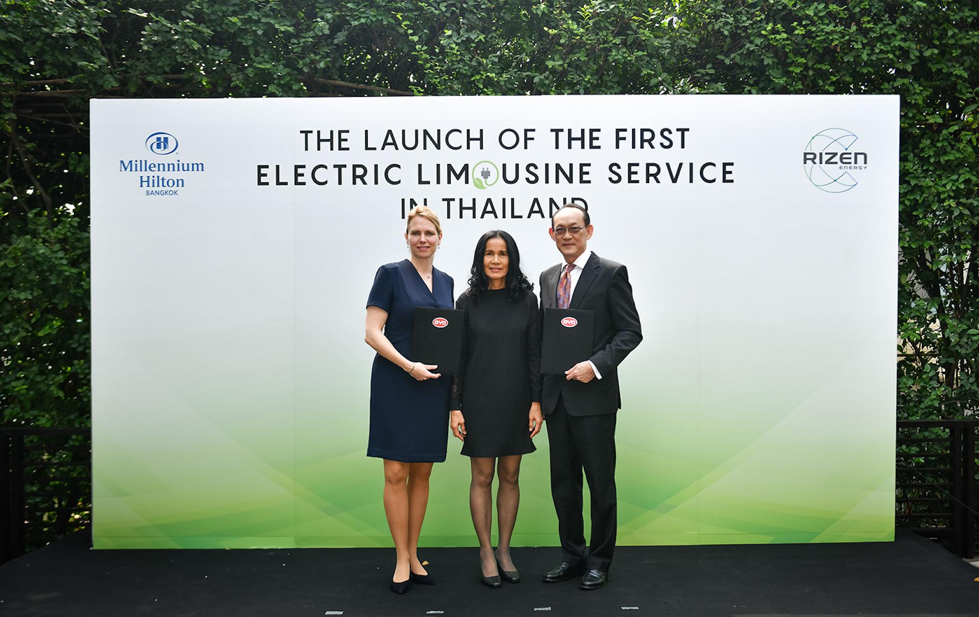 มิลเลนเนียม ฮิลตัน กรุงเทพ จับมือ บีวายดี ให้บริการรถลิมูซีนไฟฟ้า 100% ร่วมลดมลพิษและฝุ่น ครั้งแรกของประเทศไทย